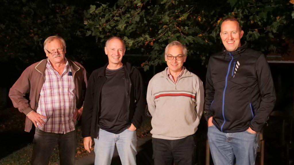 Jürgen Kockel (Turnierleitung), Clemens Fellhauer (2. Platz), Rudolf Mandl (1.Platz) und Oliver Wildenstein (3. Platz)( v.l.)